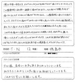 徳島市 10代 T.N様 オスグット 口コミ
