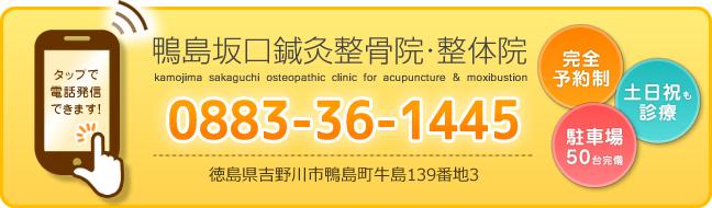 鴨島坂口鍼灸整骨院電話番号:088-336-1445